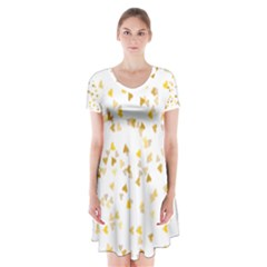 Gold Hearts Confetti Short Sleeve V-neck Flare Dress