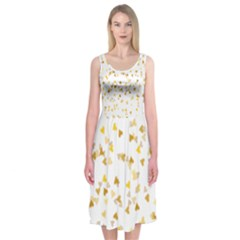 Gold Hearts Confetti Midi Sleeveless Dress