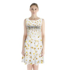 Gold Hearts Confetti Sleeveless Chiffon Waist Tie Dress
