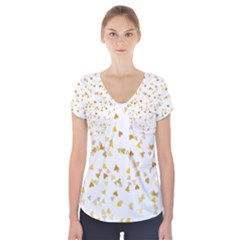 Gold Hearts Confetti Short Sleeve Front Detail Top