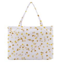 Gold Hearts Confetti Medium Zipper Tote Bag