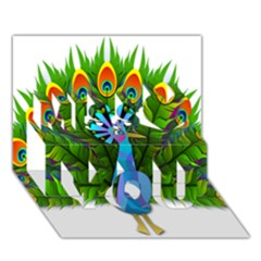 Peacock Peafowl Peachick Bird Miss You 3D Greeting Card (7x5)