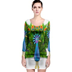Peacock Peafowl Peachick Bird Long Sleeve Bodycon Dress