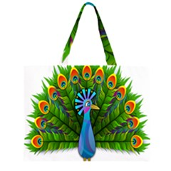 Peacock Peafowl Peachick Bird Large Tote Bag
