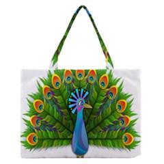 Peacock Peafowl Peachick Bird Medium Zipper Tote Bag