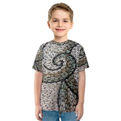 Pebbles Pattern Waves Stone Paving Kids  Sport Mesh Tee