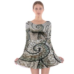 Pebbles Pattern Waves Stone Paving Long Sleeve Skater Dress