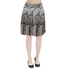 Pebbles Pattern Waves Stone Paving Pleated Skirt