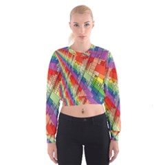 Perspective Background Color Women s Cropped Sweatshirt