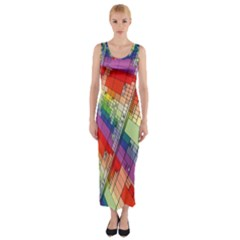 Perspective Background Color Fitted Maxi Dress