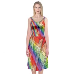 Perspective Background Color Midi Sleeveless Dress