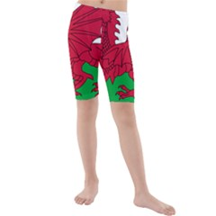 Flag of Wales Kids  Mid Length Swim Shorts