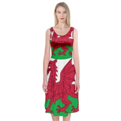 Flag Of Wales Midi Sleeveless Dress