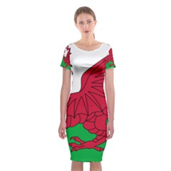 Flag Of Wales Classic Short Sleeve Midi Dress