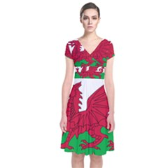 Flag Of Wales Short Sleeve Front Wrap Dress