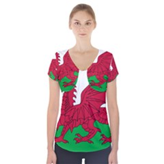 Flag Of Wales Short Sleeve Front Detail Top