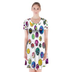 Play With Me Short Sleeve V Neck Flare Dress