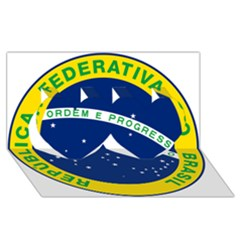 National Seal Of Brazil  Twin Hearts 3d Greeting Card (8x4)