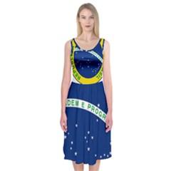 National Seal Of Brazil  Midi Sleeveless Dress