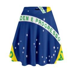 National Seal Of Brazil  High Waist Skirt