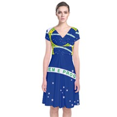 National Seal Of Brazil  Short Sleeve Front Wrap Dress