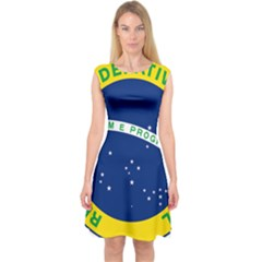 National Seal Of Brazil  Capsleeve Midi Dress