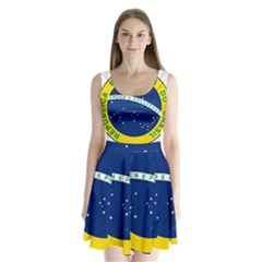 National Seal Of Brazil  Split Back Mini Dress