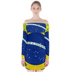 National Seal Of Brazil  Long Sleeve Off Shoulder Dress