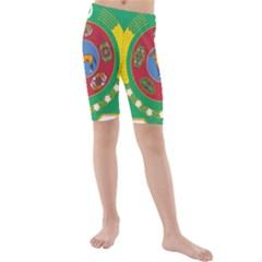 National Emblem of Turkmenistan  Kids  Mid Length Swim Shorts