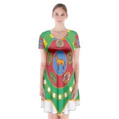 National Emblem of Turkmenistan  Short Sleeve V-neck Flare Dress