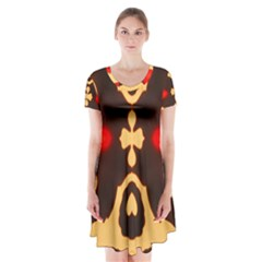 DEVIDING THE SHADOW Short Sleeve V-neck Flare Dress