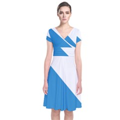 Flag Of Canton Of Zürich Short Sleeve Front Wrap Dress