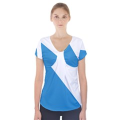 Flag Of Canton Of Zürich Short Sleeve Front Detail Top