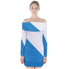 Flag of Canton of Zürich Long Sleeve Off Shoulder Dress