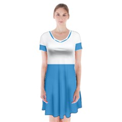 Flag of Canton of Lucerne Short Sleeve V-neck Flare Dress