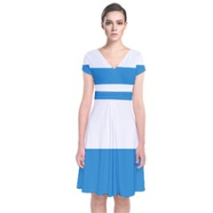 Flag Of Canton Of Lucerne Short Sleeve Front Wrap Dress