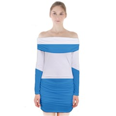 Flag of Canton of Lucerne Long Sleeve Off Shoulder Dress
