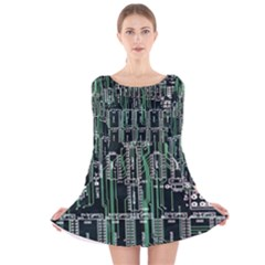 Printed Circuit Board Circuits Long Sleeve Velvet Skater Dress