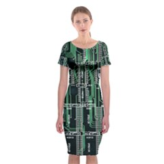 Printed Circuit Board Circuits Classic Short Sleeve Midi Dress