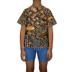 Queen Cup Honeycomb Honey Bee Kids  Short Sleeve Swimwear