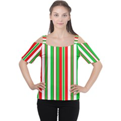 Red Green White Christmas Pattern Women s Cutout Shoulder Tee