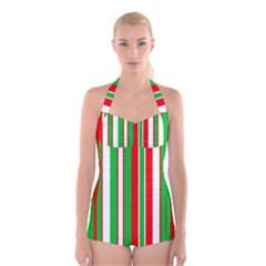 Red Green White Christmas Pattern Boyleg Halter Swimsuit
