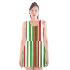 Red Green White Christmas Pattern Scoop Neck Skater Dress