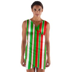 Red Green White Christmas Pattern Wrap Front Bodycon Dress
