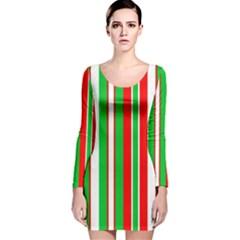 Red Green White Christmas Pattern Long Sleeve Velvet Bodycon Dress