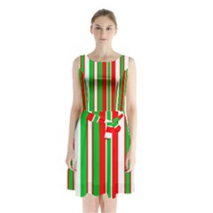 Red Green White Christmas Pattern Sleeveless Chiffon Waist Tie Dress