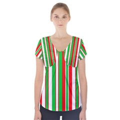 Red Green White Christmas Pattern Short Sleeve Front Detail Top