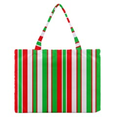 Red Green White Christmas Pattern Medium Zipper Tote Bag
