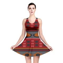 Red Orange Aztec Texture Design Reversible Skater Dress