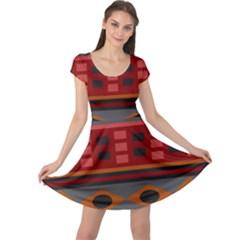 Red Orange Aztec Texture Design Cap Sleeve Dresses